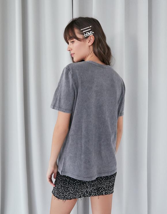 T-Shirt Gris Imprimé avec Strass