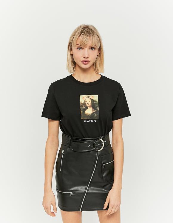 T-Shirt Noir Meme Mona Lisa