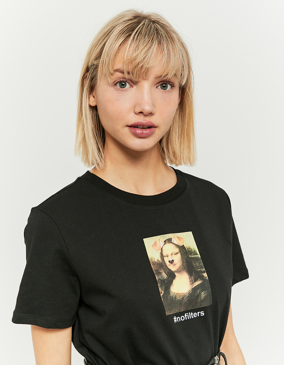 T-Shirt Nera Meme Mona Lisa