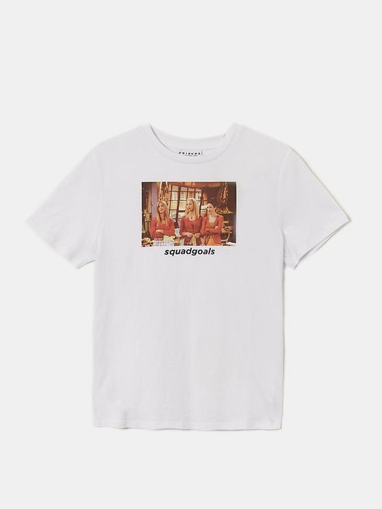 Weißes FRIENDS T-Shirt mit Slogan