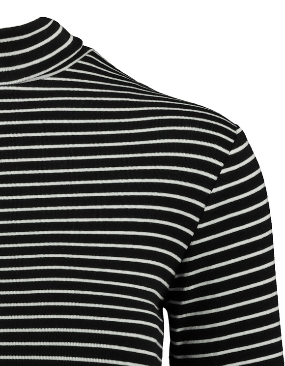 Black Striped High Neck Top