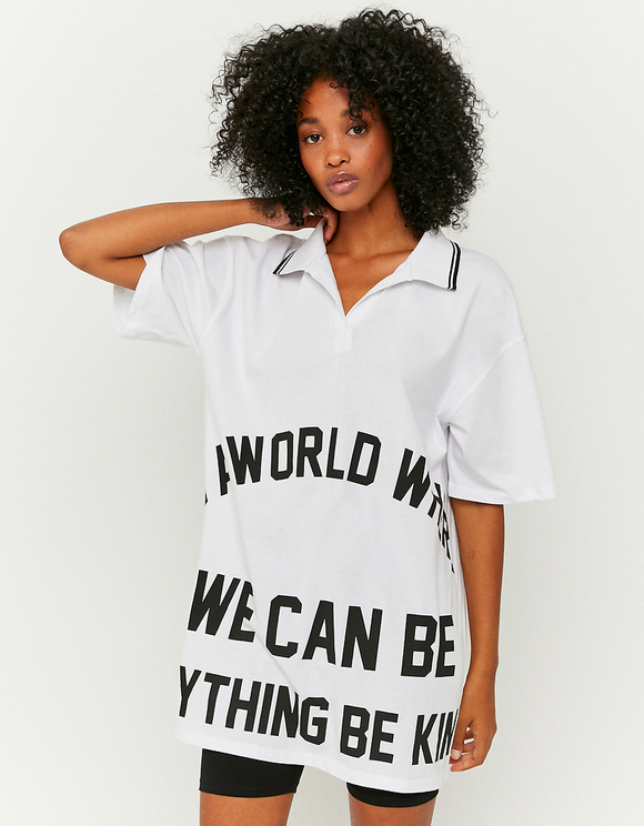 Weißes bedrucktes Polo T-Shirt