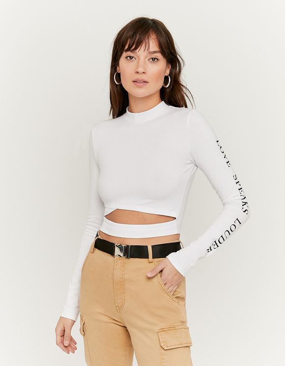 White Slogan Print Top