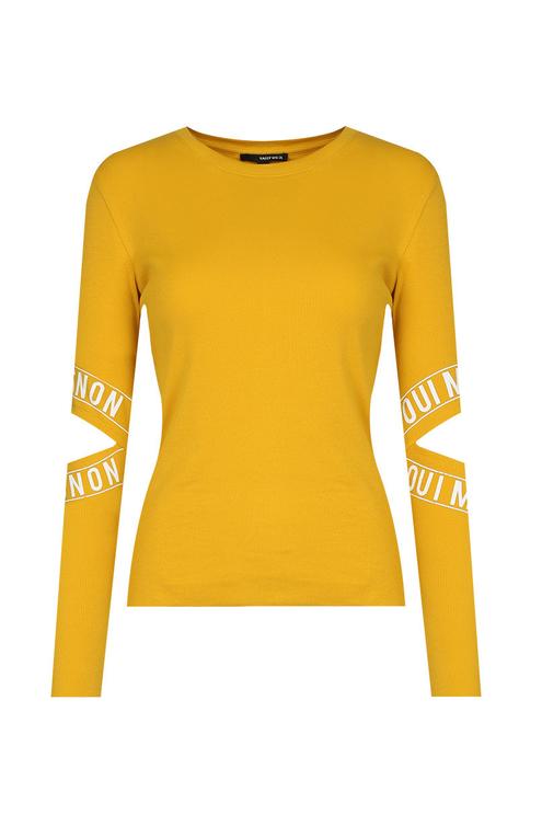 """Gelbes Langarm-Shirt """"Oui mais non"""""""