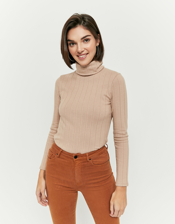 Beige Ribbed High Neck Top