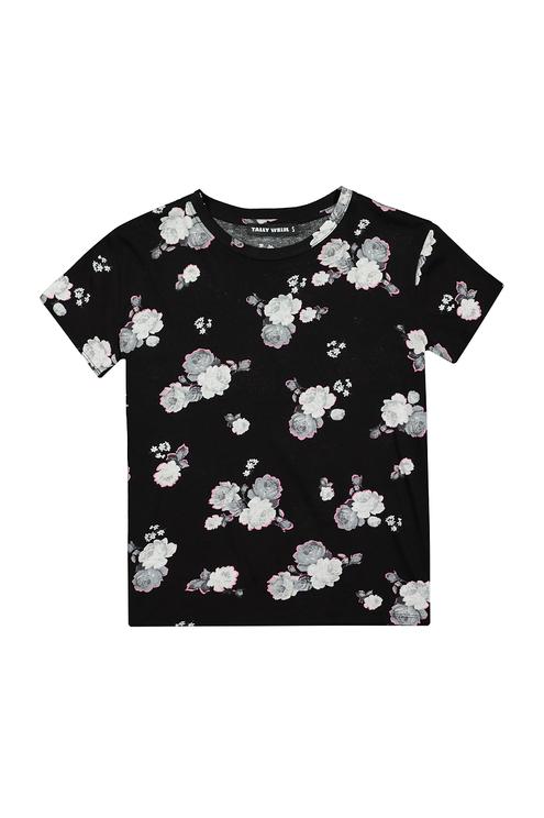 Schwarzes Top mit Blumen Print