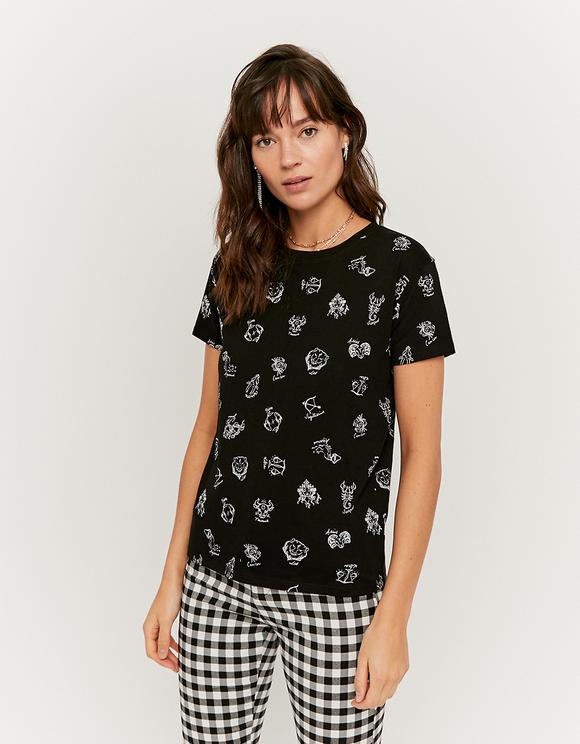 T-Shirt Noir Imprimé Astro