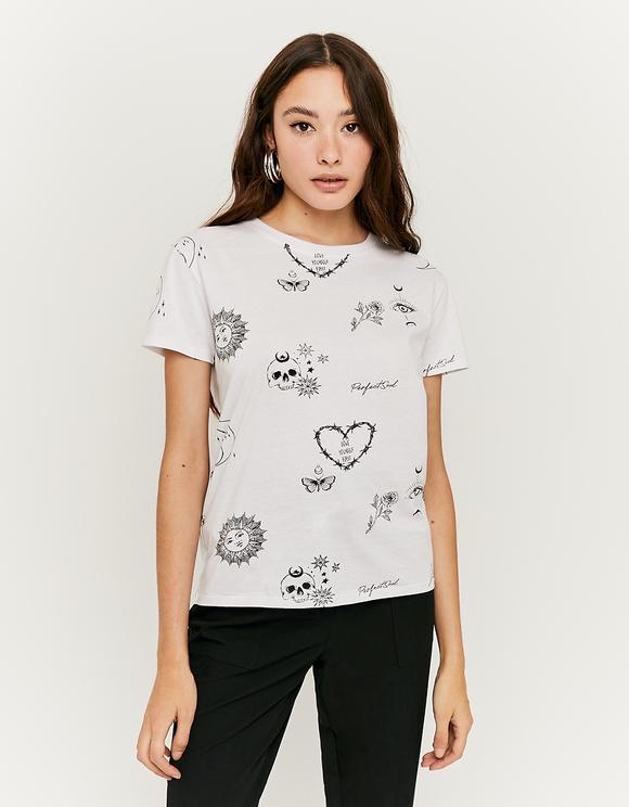 T-Shirt Blanc Imprimé Slogan