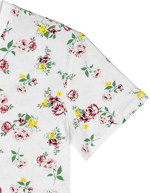 T-Shirt Blanc Imprimé Fleuri