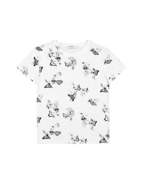 T-Shirt Blanc Imprimé Papillions