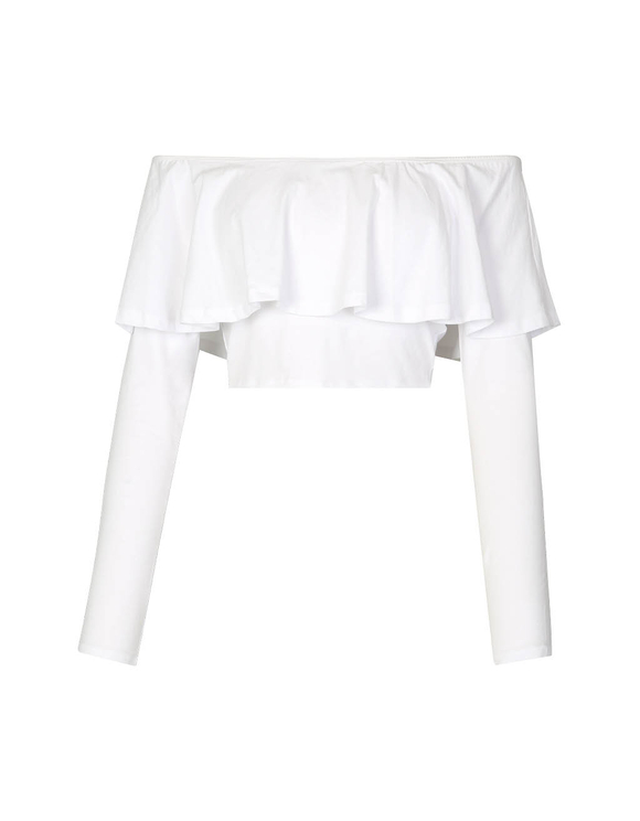 White Ruffle Crop Top