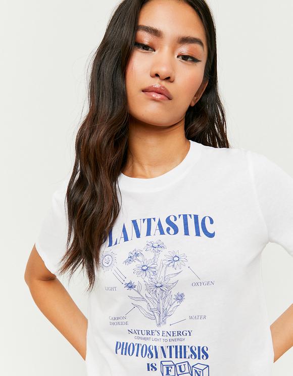 Weißes bedrucktes T-Shirt