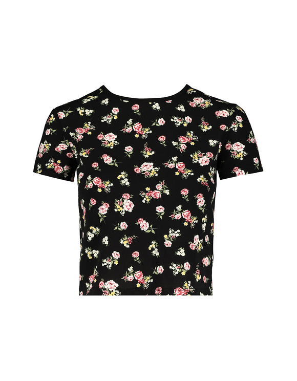 Flower Print Lace Up Back Top