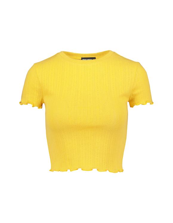 Gelbes Crop Top mit gekräuselter Saum
