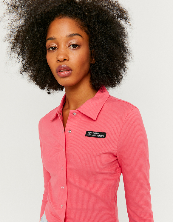 Pink Buttoned Top with Collar