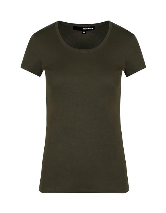 Khaki Cross Front T-Shirt