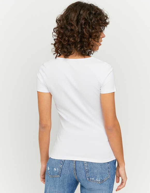 White Top with Neckline Detail