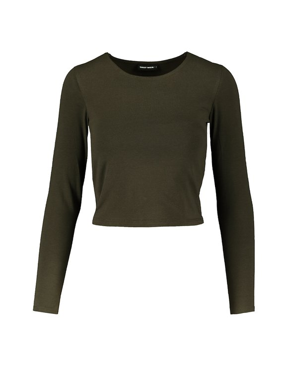 Khaki langärmliges Top