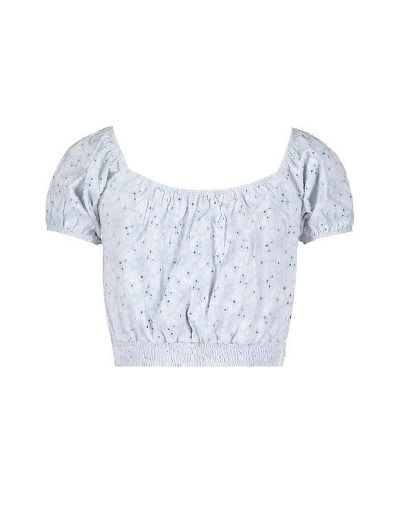 Blue English Embroidery Crop Top