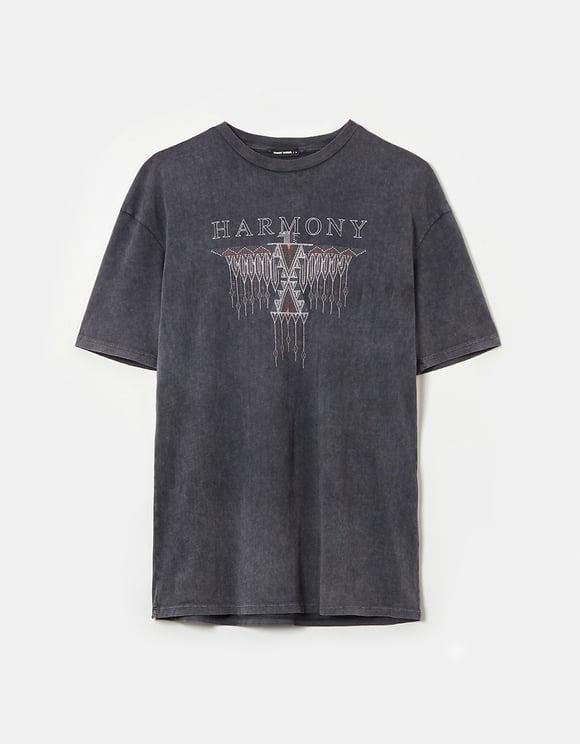 Acid Wash Print & Rhinestone T-Shirt