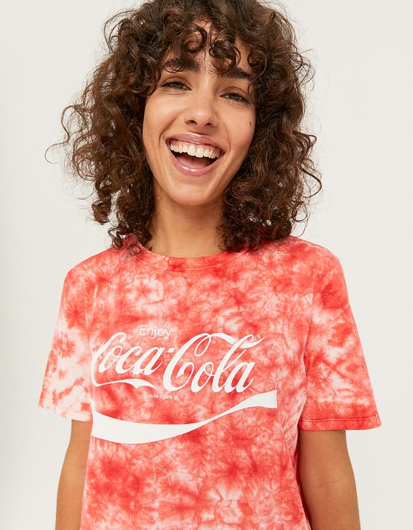 T-Shirt Tie Dye con Stampa Coca Cola