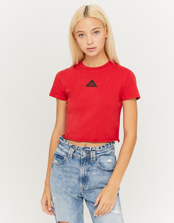 Red Printed Crop Top