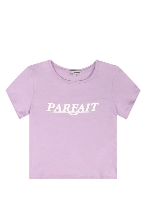 T-shirt Lilla con Slogan