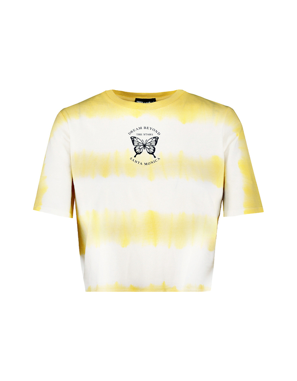 Yellow Tie & Dye Crop Top