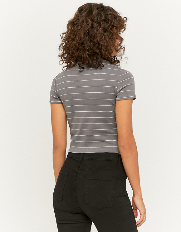 Grey Striped Ribbed Top