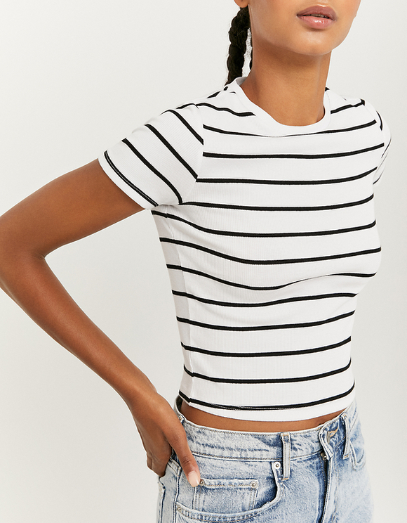 White Striped Ribbed Top