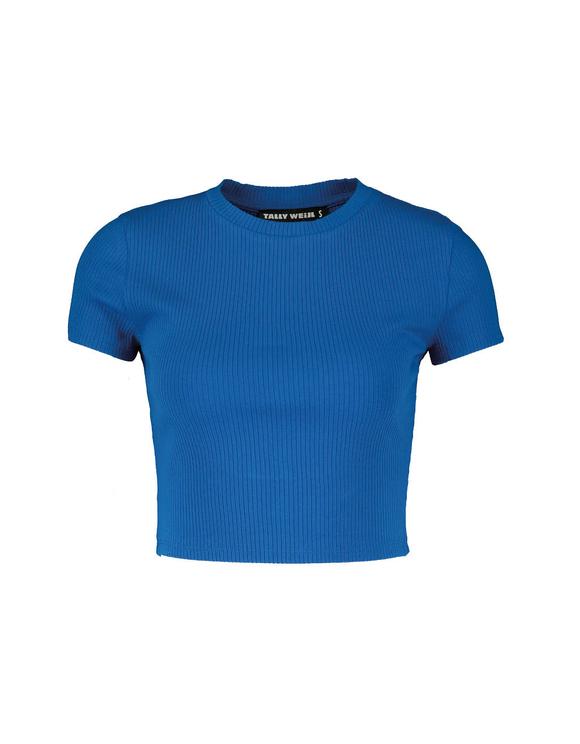 Blaues, geripptes Crop Top