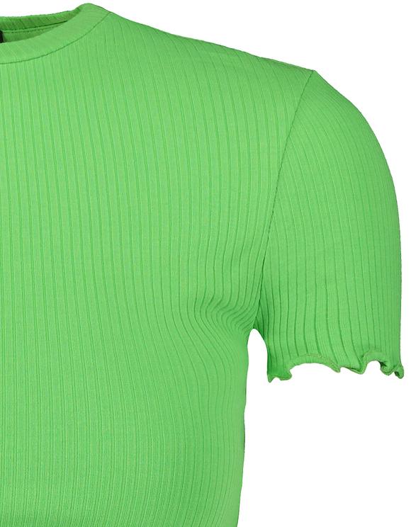 Crop Top Vert Ourlet Ondulé