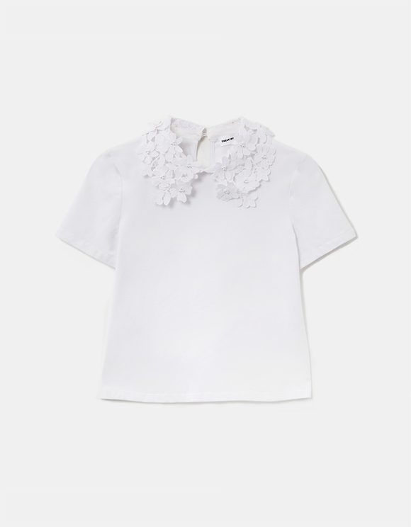 White Top with Lace & Pearl Collar