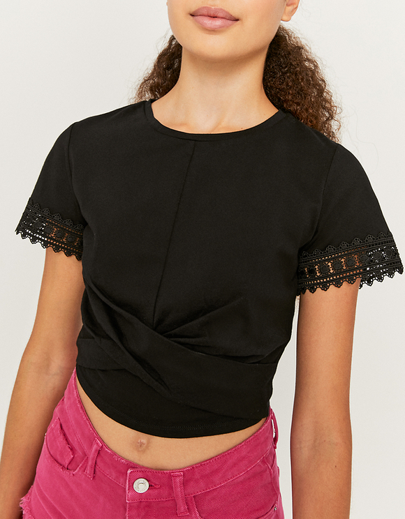 Black Wrap Hem Top