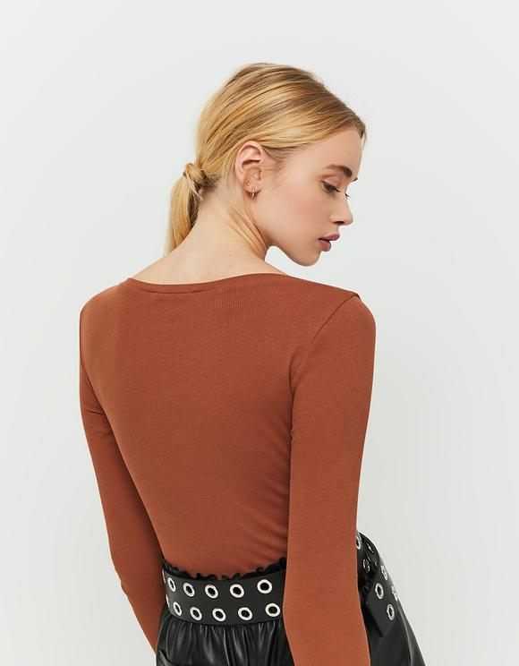 Cognac Long Sleeves Top