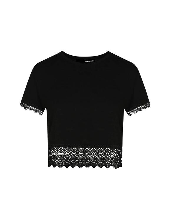 Crop Top Noir avec Crochet