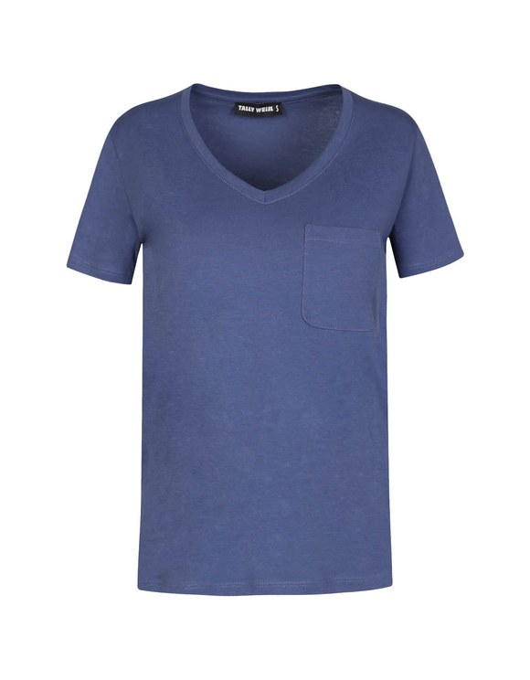 Blue Basic V Neck T-Shirt