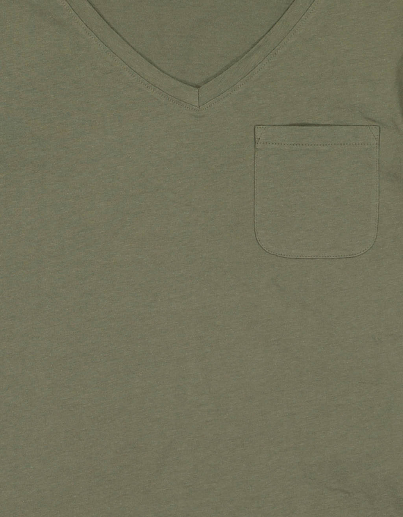 Khaki T-Shirt mit Brusttasche
