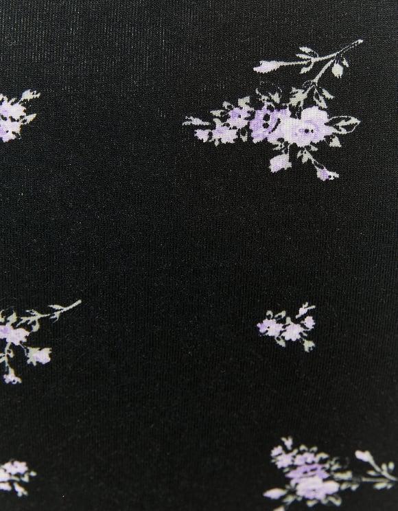 Printed Top Side Ruching Detail