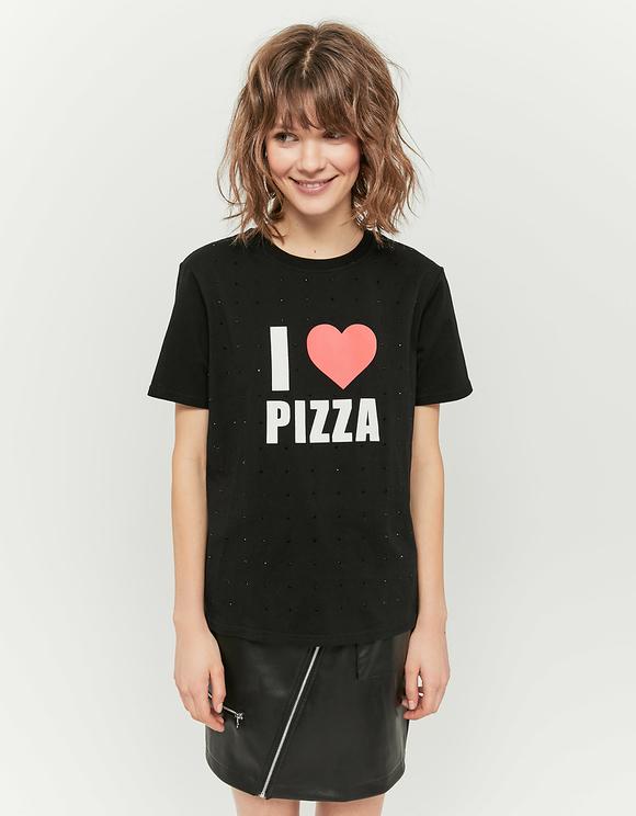 Schwarzes T-Shirt mit Aufdruck und Strass