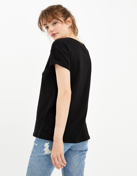Black Basic Short Sleeves Top