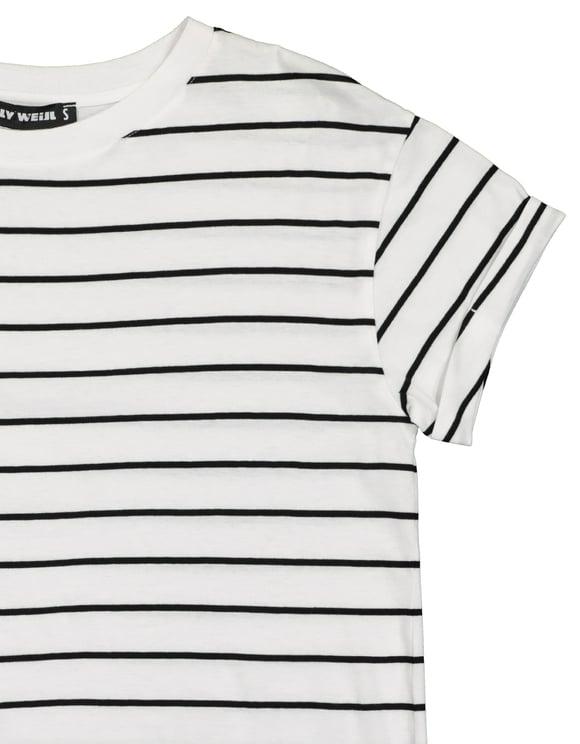 Biały t-shirt w paski BASIC