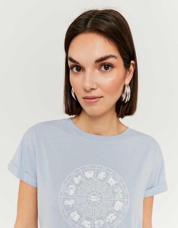 T-Shirt Bleu Imprimé