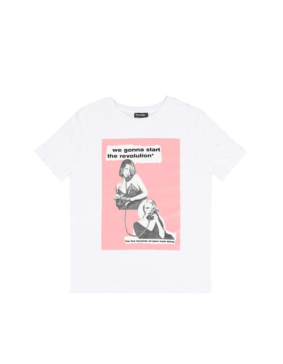 T-Shirt Blanc Imprimé à Slogan