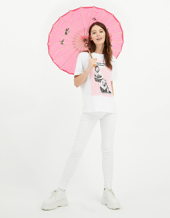 White Printed T-Shirt with Slogan