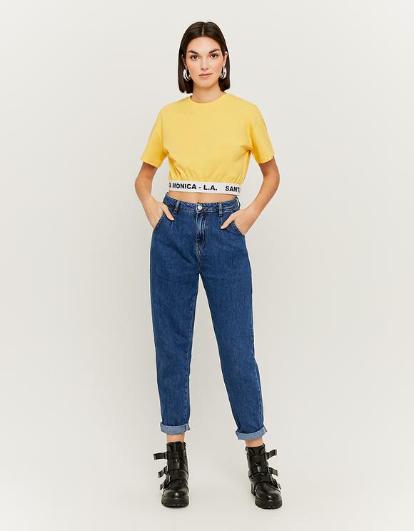 Gelbes elastisches Crop Top
