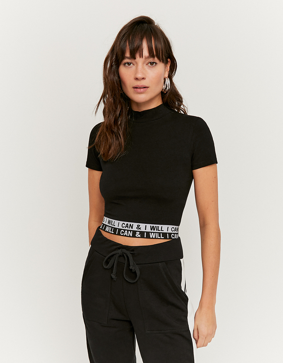 Slogan Elastic Band Crop Top
