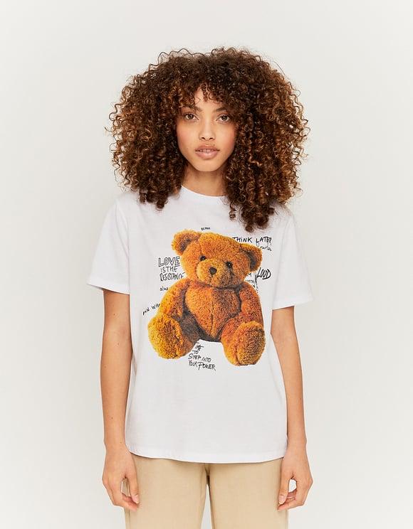 White Teddy Bear Print T-Shirt