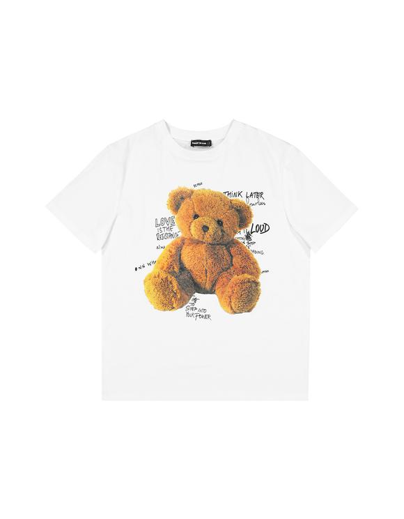 T-Shirt Blanc Imprimé Ourson