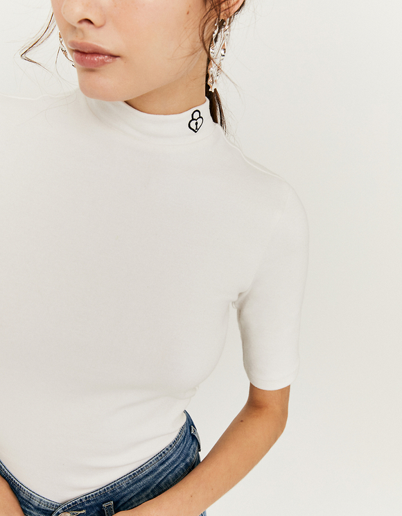 White Top with Printed Detail